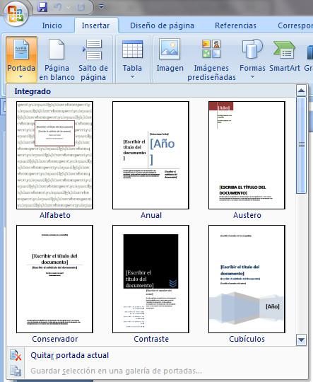 como insertar una portada en word