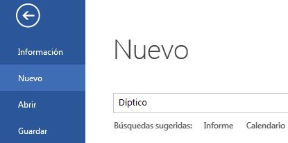 Documento Nuevo Word 2013
