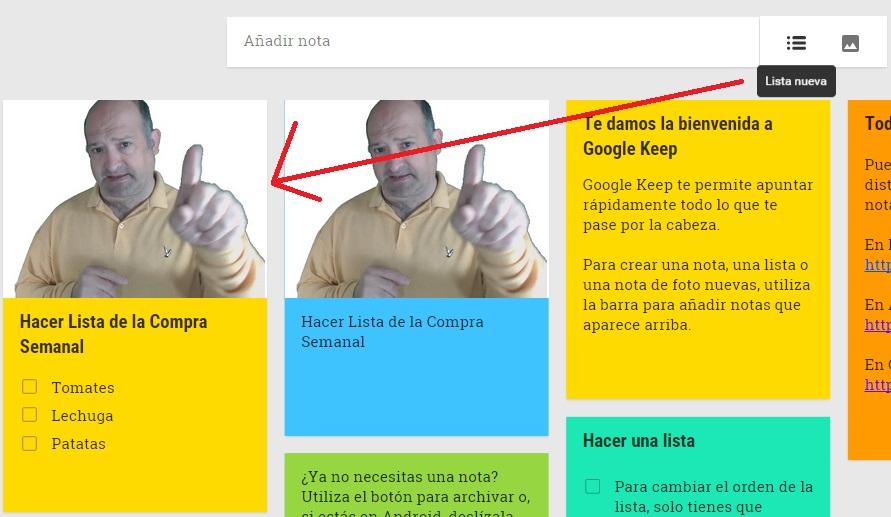Google Keep foto listas